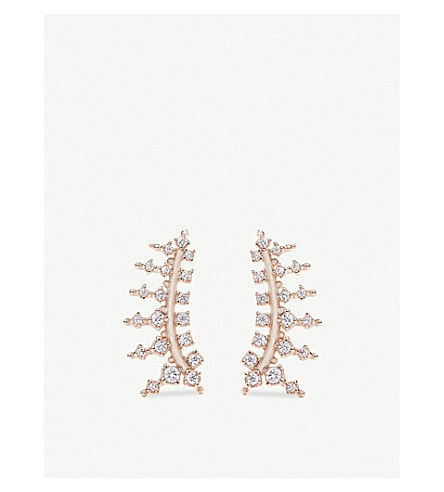KENDRA SCOTT Laurie 14ct rose gold-plated and cubic zirconia climber earrings (White