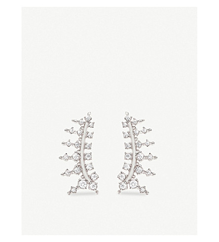 KENDRA SCOTT Laurie rhodium-plated and cubic zirconia climber earrings (White