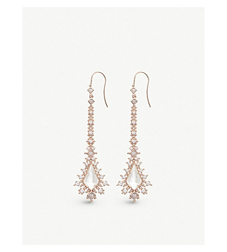 KENDRA SCOTT Reimer 14ct rose gold-plated and ivory mother-of-pearl earrings (Ivory