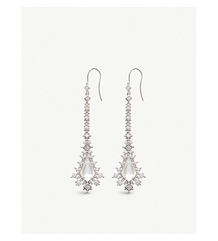 KENDRA SCOTT Reimer rhodium-plated and ivory-of-pearl earrings (Ivory