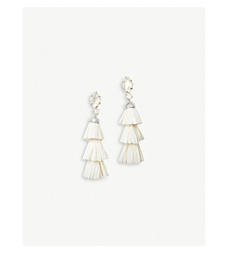 KENDRA SCOTT Denise rhodium-plated and ivory mother-of-pearl tassel earrings (Rhodium