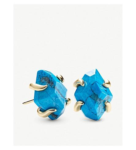 KENDRA SCOTTInaiyah 14ct 镀金和水 howlite 耳环 (金