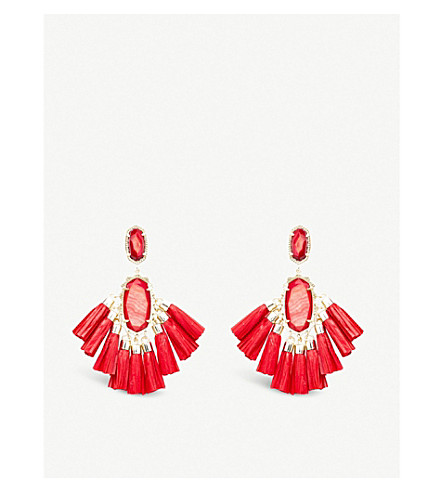 KENDRA SCOTT Kristen 14ct gold-plated and Mother of Pearl stone drop earrings (Gold