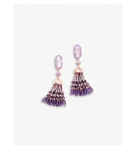 KENDRA SCOTT鸽子14ct 镀金紫丁香母珍珠流苏耳环 (玫瑰 + 金色