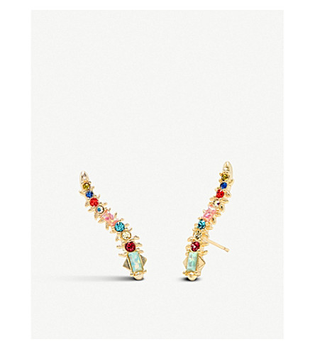 KENDRA SCOTT Sinclair 14ct gold-plated brass and crystal earrings (Gold