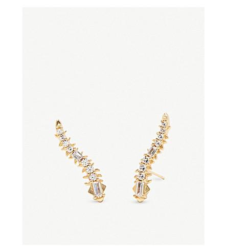 KENDRA SCOTT辛克莱14ct 镀金黄铜和水晶耳环 (金