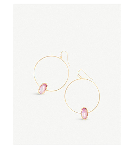 KENDRA SCOTT Elora 14ct gold-plated blush pearl hoop earrings (Blush+dyed+ivory+mop