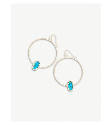 KENDRA SCOTT Elora 14-ct gold-plated Bronze Veined Turquoise Magnesite earrings (Bronze+veined+turquo