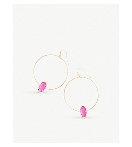 KENDRA SCOTT Elora 14ct gold-plated magenta magnesite hoop earrings (Magenta
