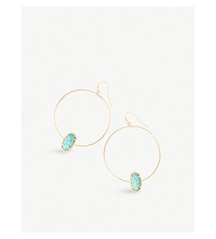 KENDRA SCOTT Elora 14ct gold-plated aqua Kyocera opal hoop earrings (Aqua