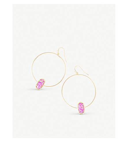 KENDRA SCOTT Elora 14ct gold-plated fuchsia kyocera opal hoop earrings (Fuchsia