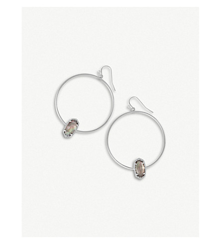 KENDRA SCOTT Elora 14-ct silver-plated Black Mother of Pearl earrings (Black