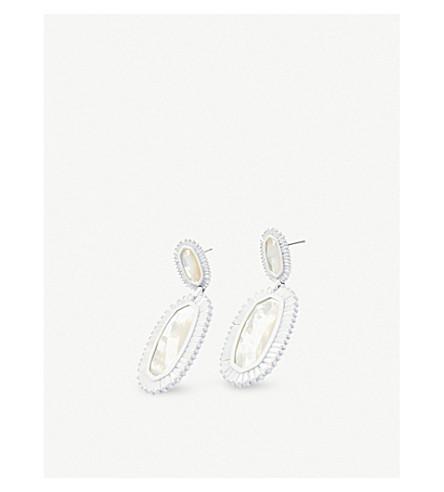KENDRA SCOTT珍珠的象牙色的白色耳环的母亲 (哑光 + 白