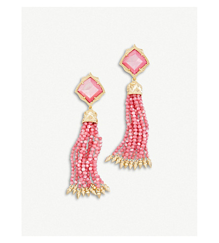 KENDRA SCOTT Misha 14ct gold-plated and Mother-of-Pearl earrings (Blush+dyed+ivory+mop