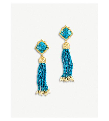 KENDRA SCOTT Misha 14ct gold-plated Bronze Veined Turquoise Magnesite earrings (Bronze+veined+turquo