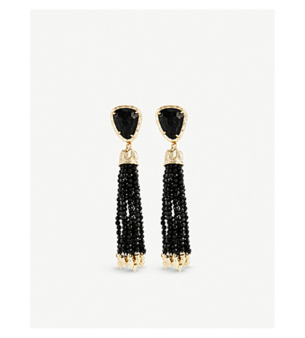 KENDRA SCOTT Blossom 14ct gold-plated and black granite stone earrings (Black