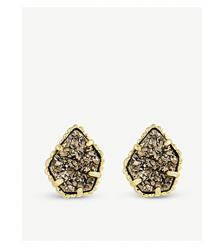 KENDRA SCOTT Tessa 14ct gold-plated and platinum drusy earing (Platinum