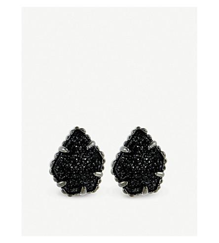 KENDRA SCOTT Tessa gunmetal and black drusy earring (Black