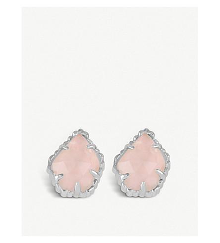 KENDRA SCOTT Tessa rhodium-plated and rose quartz earrings (Rose