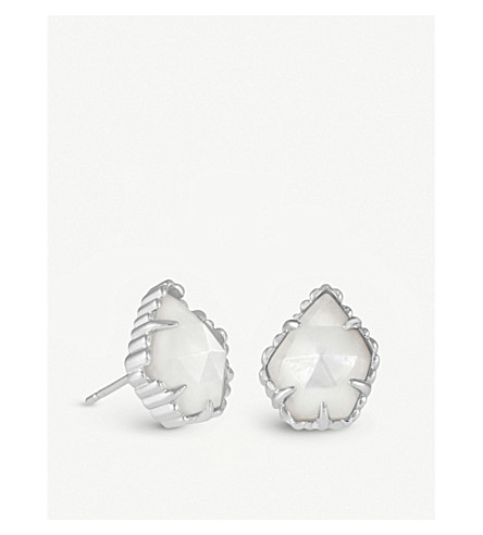 KENDRA SCOTT Tessa rhodium-plated and white mother-of-pearl earrings (Ivory