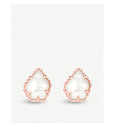 KENDRA SCOTT Tessa 14ct rose-gold and ivory mother-of-pearl earrings (Ivory