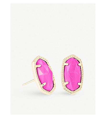 KENDRA SCOTT Ellie 14ct gold-plated Magenta Magnesite stud earrings (Magenta