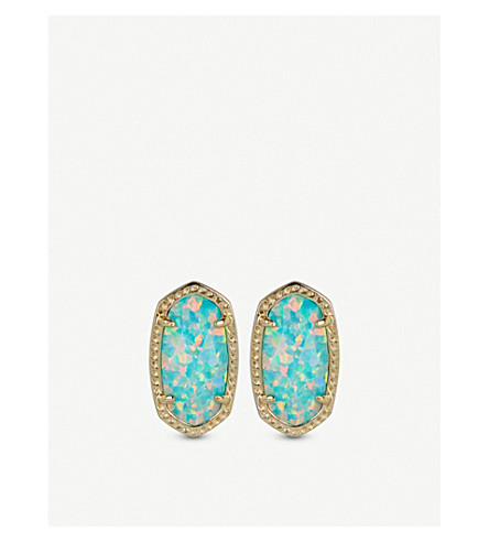 KENDRA SCOTT Ellie 14ct gold-plated Aqua Kyocera Opal stud earrings (Aqua