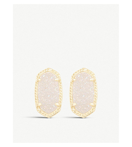 KENDRA SCOTT Ellie 14ct gold-plated Iridescent Drusy stud earrings (Iridescent