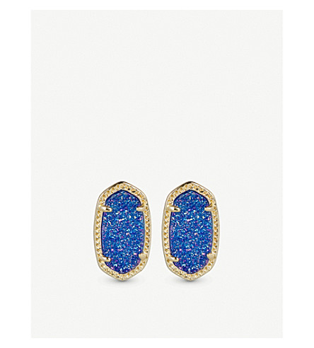 KENDRA SCOTT Ellie 14ct gold-plated Cobalt Drusy stud earrings (Cobalt