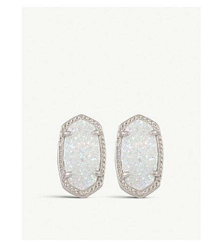 KENDRA SCOTT Ellie 14ct silver-plated Iridescent Drusy stud earrings (Iridescent