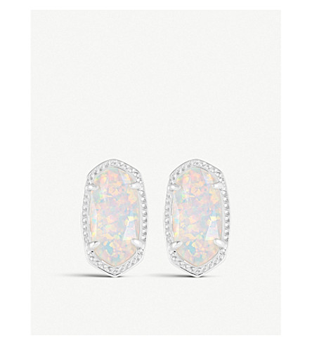 KENDRA SCOTT Ellie 14ct silver-plated White Kyocera stud earrings (White