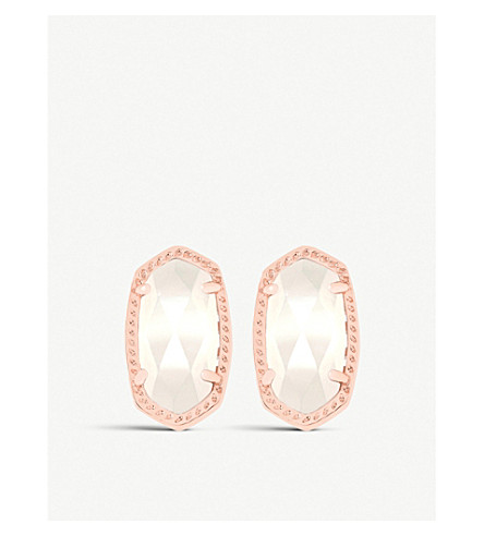 KENDRA SCOTT Ellie 14ct rose gold-plated Ivory Mother of Pearl stud earrings (Ivory