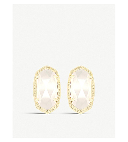 KENDRA SCOTT Ellie 14ct gold-plated Ivory Mother of Pearl stud earrings (Ivory