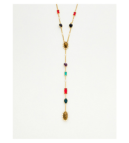 KENDRA SCOTT Liesl plated brass, glass and gemstone necklace (Multi