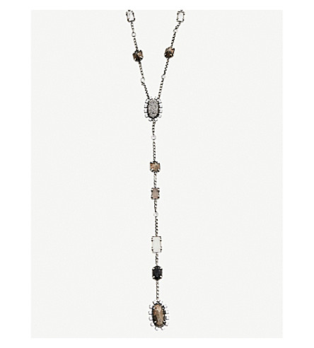 KENDRA SCOTT Liesl antique silver-plated, crystal, glass, pyrite and granite necklace (Brown