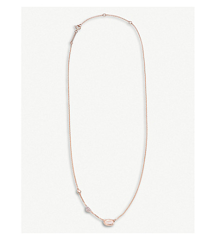 Aryn 14ct 玫瑰-黄金, 月光石, 钻石和白黄玉项链 (14 k + 玫瑰 + 黄金