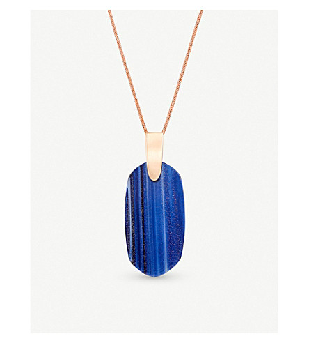KENDRA SCOTT Inez 14ct rose gold-plated and navy gold dusted stone necklace (Navy