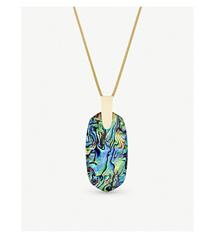 KENDRA SCOTT Inez 14ct gold-plated and abalone shell necklace (Abalone