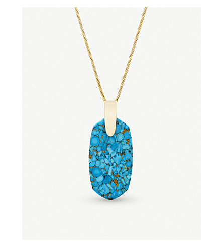 KENDRA SCOTT Inez 14ct gold-plated and veined turquoise necklace (Bronze+veined+turquo