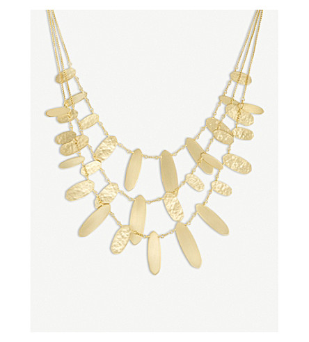 KENDRA SCOTT Nettie hammered tab 14ct gold-plated necklace (Gold