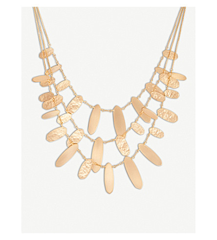 KENDRA SCOTT Nettie hammered tab 14ct rose gold-plated necklace (Rose+gold