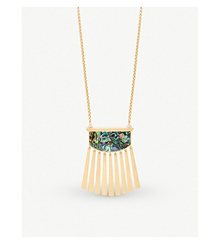KENDRA SCOTT Ellen 14ct gold-plated and abalone shell necklace (Abalone
