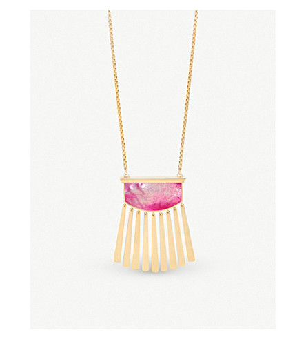 KENDRA SCOTT Ellen 14ct gold-plated and magenta Mother of Pearl necklace (Magenta