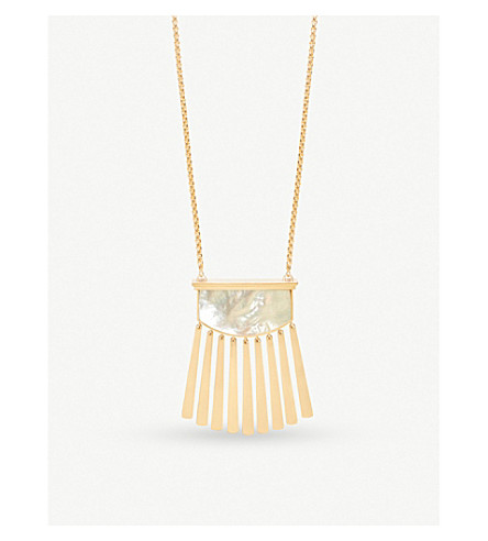 KENDRA SCOTT Ellen 14ct gold-plated and ivory Mother of Pearl necklace (Ivory
