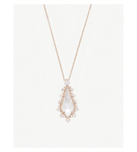 KENDRA SCOTT Shelly 14ct rose gold-plated and ivory mother-of-pearl necklace (Ivory