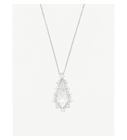 KENDRA SCOTT Shelly rhodium-plated and ivory mother-of-pearl necklace (Ivory
