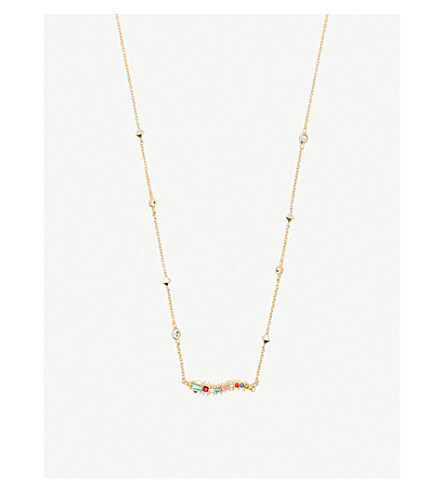 KENDRA SCOTT Kim 14ct gold-plated brass and opal necklace (Gold