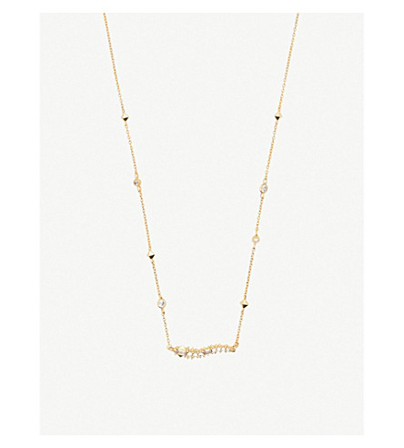 KENDRA SCOTT Kim 14k gold-plated brass and opal necklace (Gold