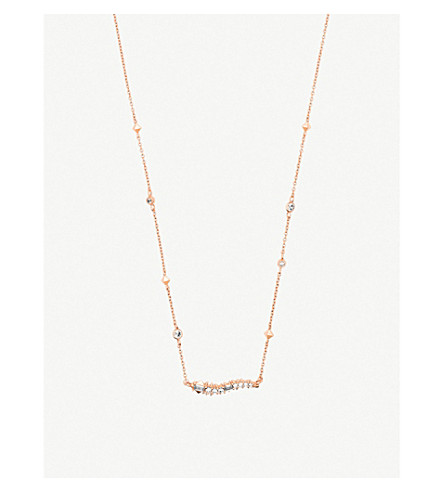 KENDRA SCOTT Kim 14k rose gold-plated brass and opal necklace (Rose+gold