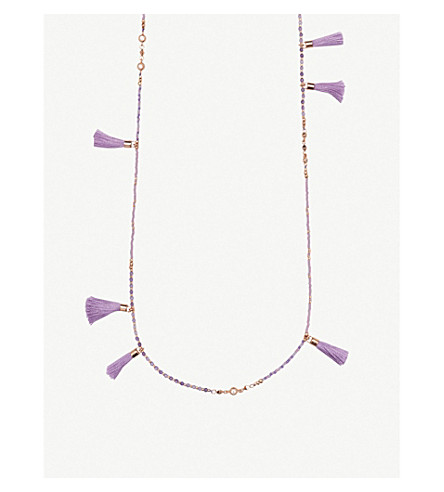KENDRA SCOTT Augusta 14ct rose gold-plated and lilac mother-of-pearl tassel necklace (Rose+gold